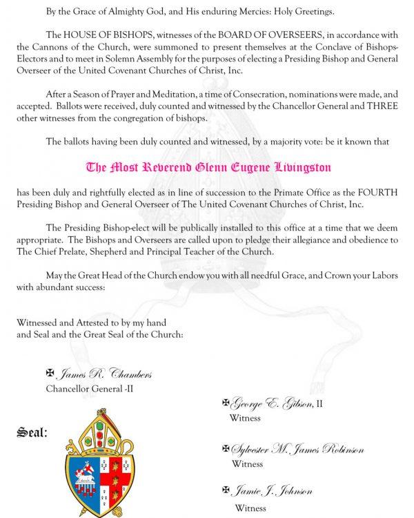 BISHOP G.E. LIVIINGSTON • UNITED COVENANT CHURCHES OF CHRIST